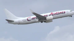 Airplane Flying, Aircraft in Flight, Caribbean Airlines - stock footage