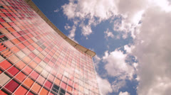 Modern business corporate building moving, zoom and timelapse clouds in hd Stock Footage
