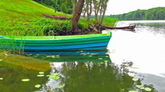 Sunken boat on the lake Stock Footage