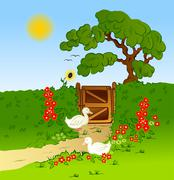 Rural fence, flowers and farm geese . Vector - stock illustration
