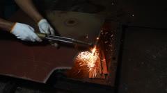 Cutting metal Stock Footage