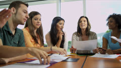 Group Multi Ethnic Teenage Students Caucasian Teacher - stock footage