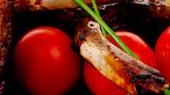 Grilled ribs on black Stock Footage