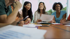 Young College Undergraduates Working Female Tutor Stock Footage