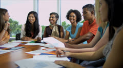 African American Female Tutor Class Multi Ethnic Students - stock footage