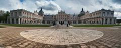 Royal palace of aranjuez with dramatic sky in spain. artistic process Stock Photos