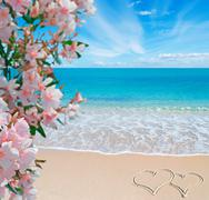 flowes, sea and summer writing - stock photo