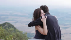 Happy couple in love kissing - hugging,embraced,kiss Stock Footage