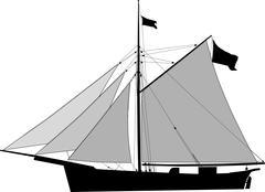 cutter, sailing cargo vessel - stock illustration