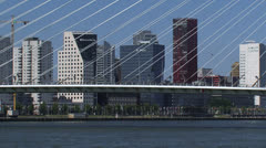 ROTTERDAM city north behind cables Erasmus Bridge + zoom out river Stock Footage