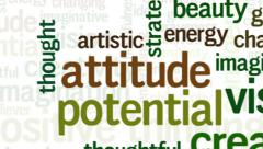 Animation of word cloud related to positive thinking and creativity Stock Footage