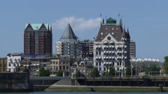 ROTTERDAM north skyline Witte Huis + Cube Houses + zoom out Stock Footage