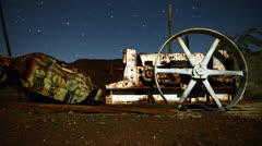 Time Lapse Pan of Abandon Mine at Night - 4k Stock Footage
