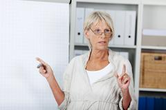 senior woman holding a presentation - stock photo