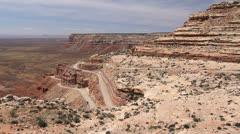 Utah winding road up Cedar Mesa Stock Footage