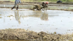 Farmer use tractor working in farm for plant rice of thailand Stock Footage