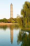washington monument scaffolding reflecting in pool - stock photo