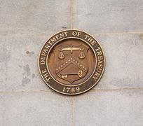 Seal on treasury building washington dc Stock Photos
