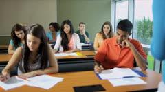 Male Female Teenage Students Working Towards Degree Stock Footage
