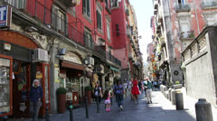 Naples Streets with lady in Red edit Stock Footage