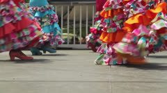 Young Spanish Flamenco dancers performing in colorful dresses Stock Footage