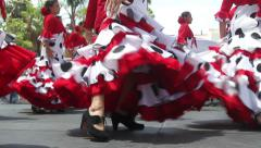 Flamenco Troupe performing on stage in traditional Spanish costumes - stock footage