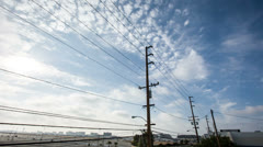 Telephone Lines Power Electric Beautiful Blue Sky Clouds Energy Utility Poles - stock footage