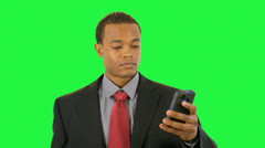 green screen businessman on cell phone - stock footage