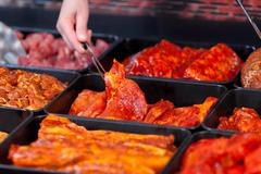 marinaded meat for grilling - stock photo