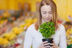 Woman with eyes closed smelling basil plant Stock Photos