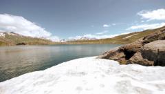 Snow mountains glaciers. mountain lake. ice Stock Footage