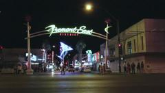 Fremont East District in downtown Vegas Stock Footage
