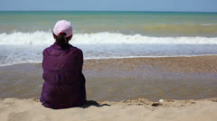Beautiful woman on the beach 6 Stock Footage