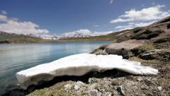 Snow mountains glaciers. lake water Stock Footage