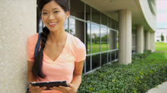 Asian Chinese Girl Outside Modern Campus Close Up Stock Footage