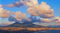 Naples skyline port and Vesuvius volcano view, time-lapse. Footage