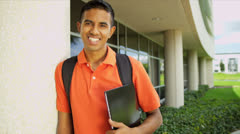 Asian Indian Boy Outside Modern Campus Close Up Stock Footage