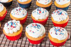 cupcakes decorated for fourth of july - stock photo