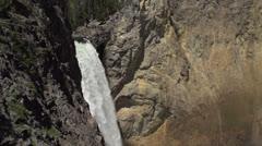 Lower Yellowstone falls following water down Stock Footage