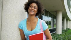 Portrait Female Ethnic Teenage College Student Stock Footage