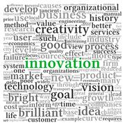 Innovation and technology concept  in tag cloud Stock Illustration