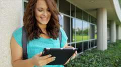 Portrait Young Caucasian Female College Student Stock Footage