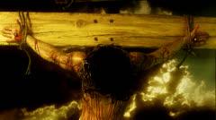 Jesus on the cross head bowed Stock Footage