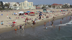 BUSY SOUTHERN CALIFORNIA BEACH LOS ANGELES 1920X1080 HD - stock footage