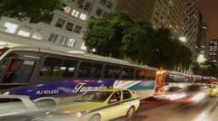 Commuters ride buses home at Avenida Presidente Vargas Rio De Janeiro, Brazil Stock Footage