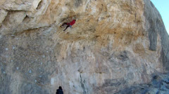 Male Rock Climber on Limestone 2 Stock Footage