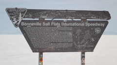 Bonneville salt flats sign Stock Footage