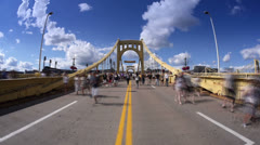 Roberto Clemente Bridge Pedestrians Timelapse Stock Footage