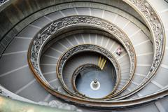 spiral staircase of the vatican museum in rome, italy - stock photo