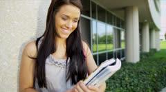 Teenage Caucasian University Student Library Books - stock footage